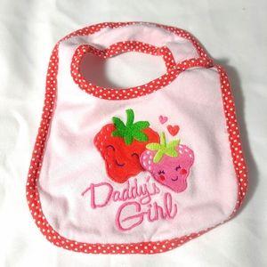 Daddy's girl strawberry pink velcro bib